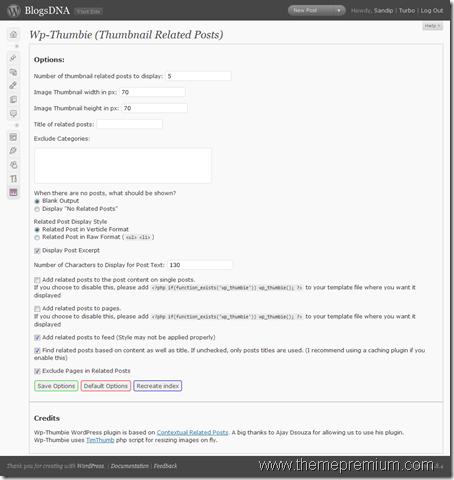 Wordpress-Thumbie-Option-Page