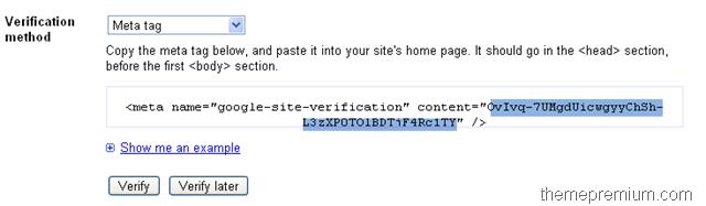 how to get google verification meta tag