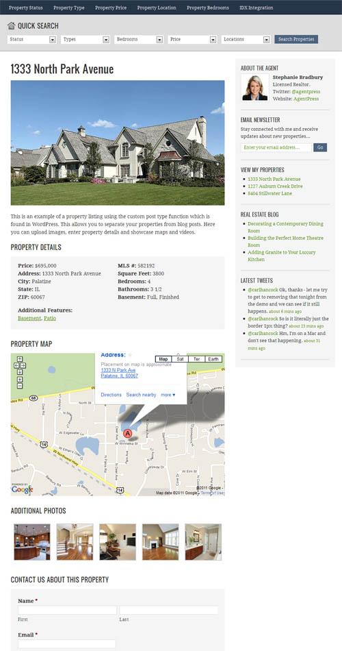 agentpress property listing page