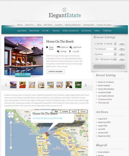 elegant-estate-wordpress theme property listing page