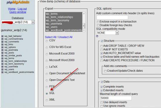 Export WordPress Database Phpmyadmin
